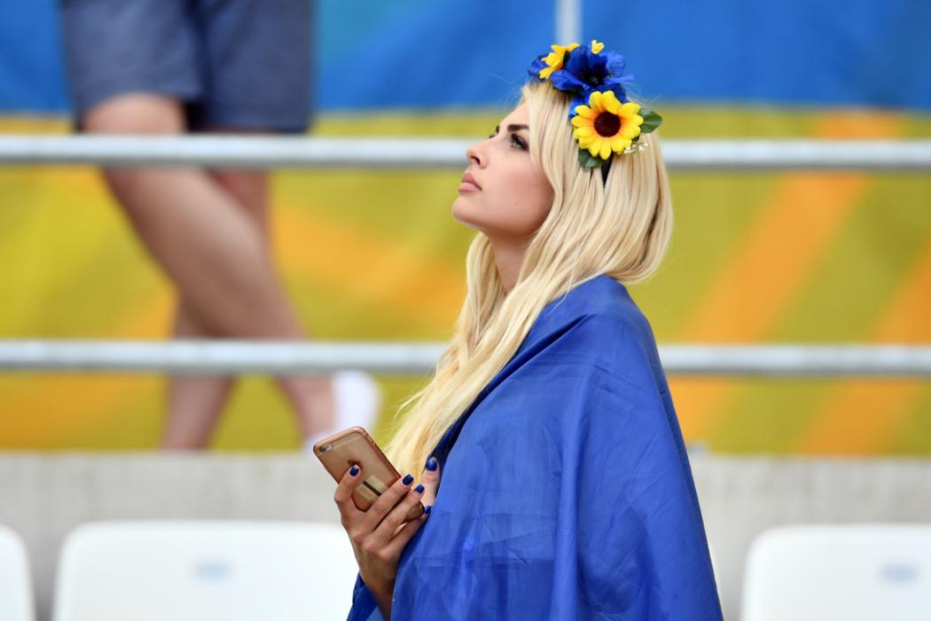 A Ukraine supporter looks on prior to the Euro 2016 group C football match between Ukraine and Poland at the Velodrome stadium in Marseille on June 21, 2016. / AFP PHOTO / BERTRAND LANGLOIS