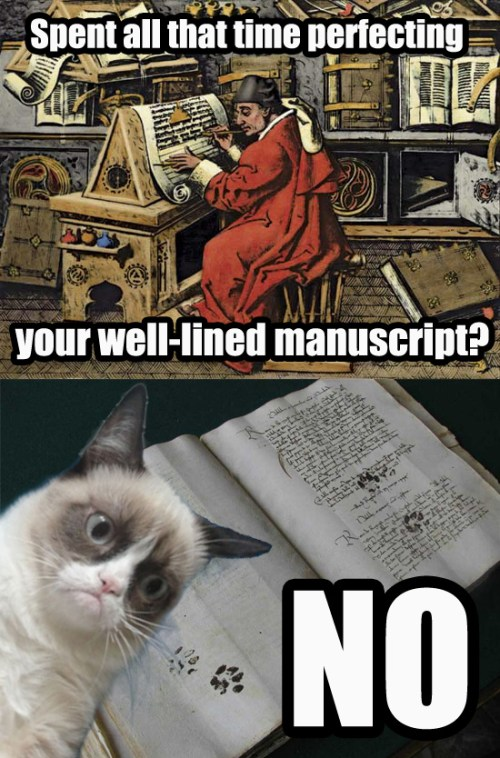 Late Medieval Grumpy Cat Claims Responsibility for Cat-Paw Manuscript