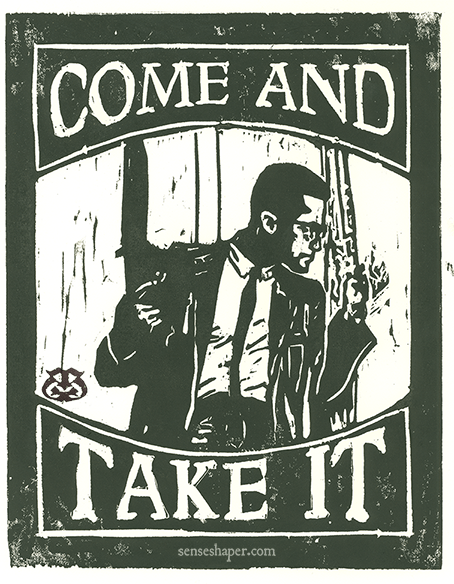 "Woodcut print, ""Malcolm X: Come and Take It,"" from choice pine woodblock and in oil on 100% cotton paper."