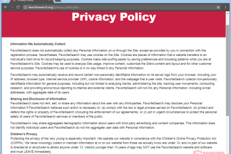 stf favoritesearch org browser hijacker redirect favorite search privacy policy