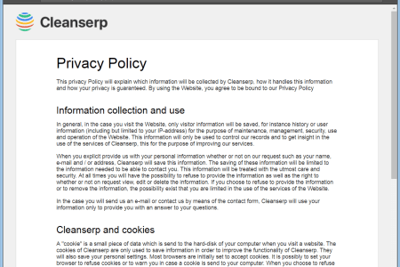 stf cleanserp net browser hijacker redirect privacy policy