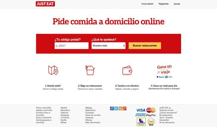 Ejemplo de uso del color rojo en la web Justeat