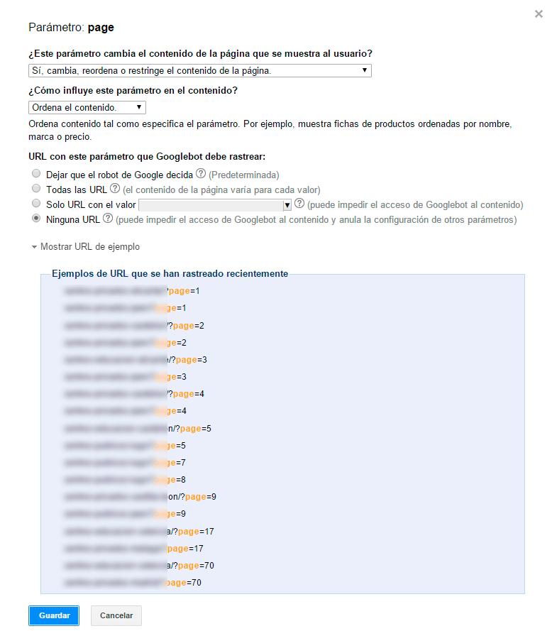 Configurar rastreo de url con parámetro en Search Console