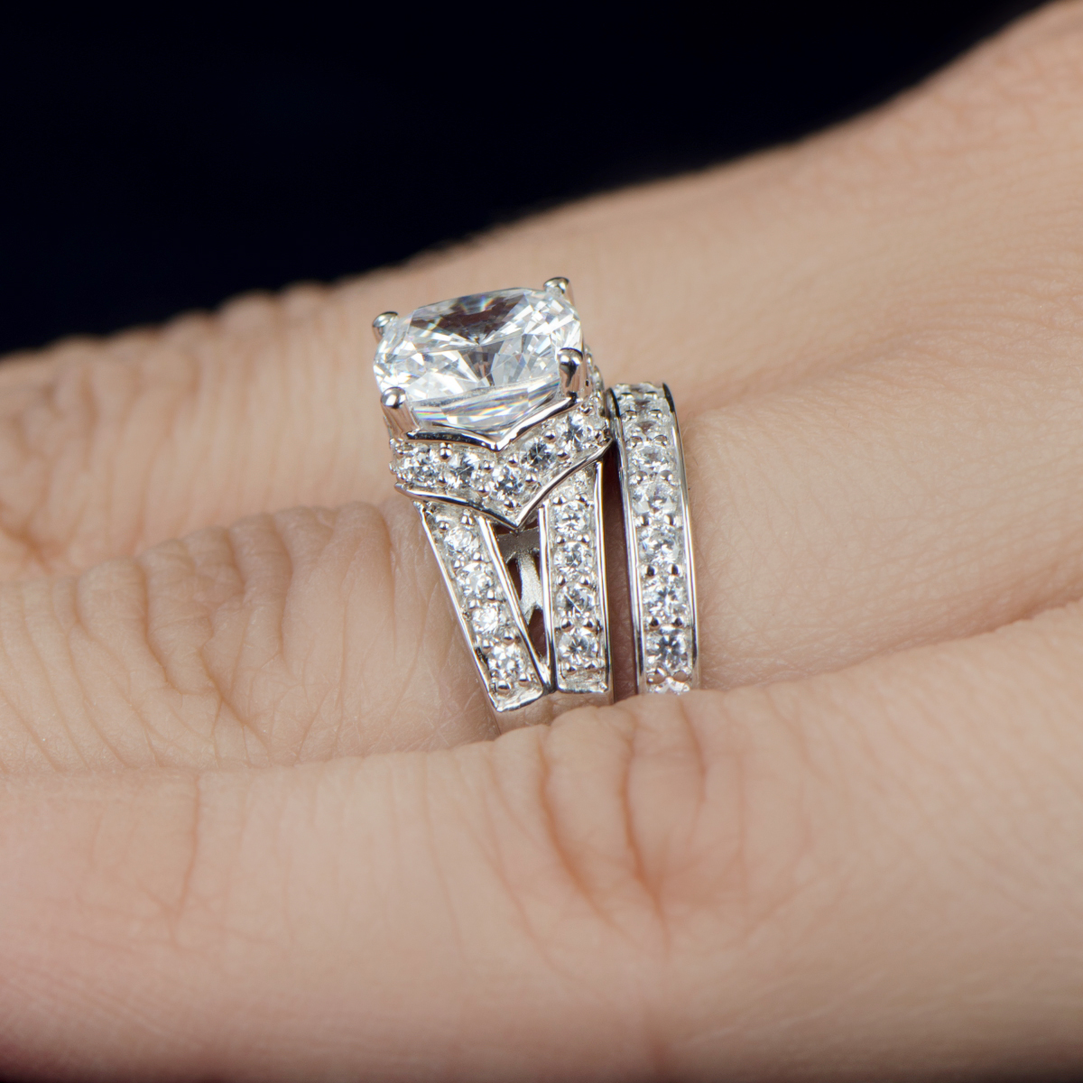 marinelczengagementring engagement wedding ring sets Marinel s Wedding Ring Set Cushion Cut CZ