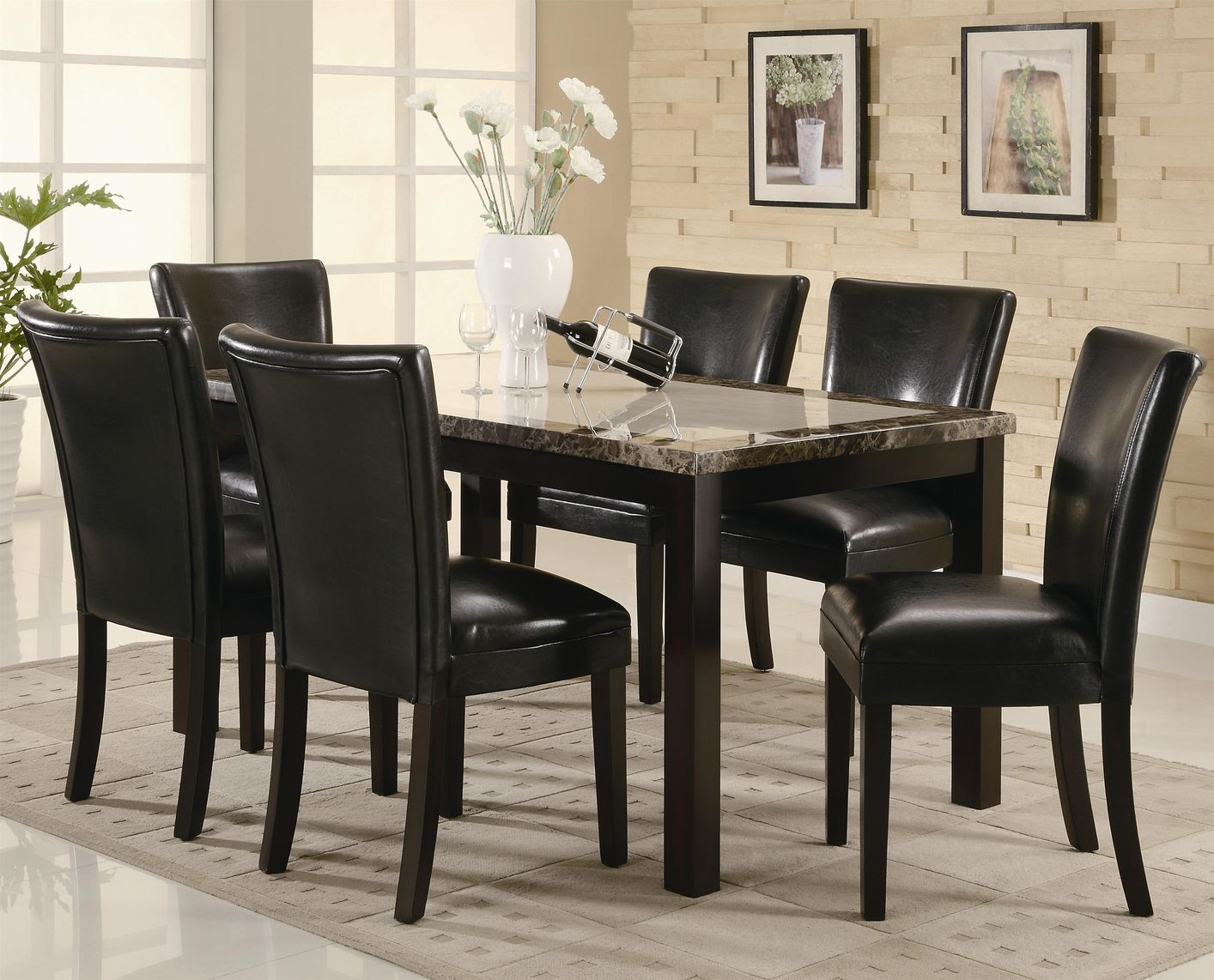 coaster carter wood kitchen table sets Carter Dark Brown Wood And Marble Dining Table Set