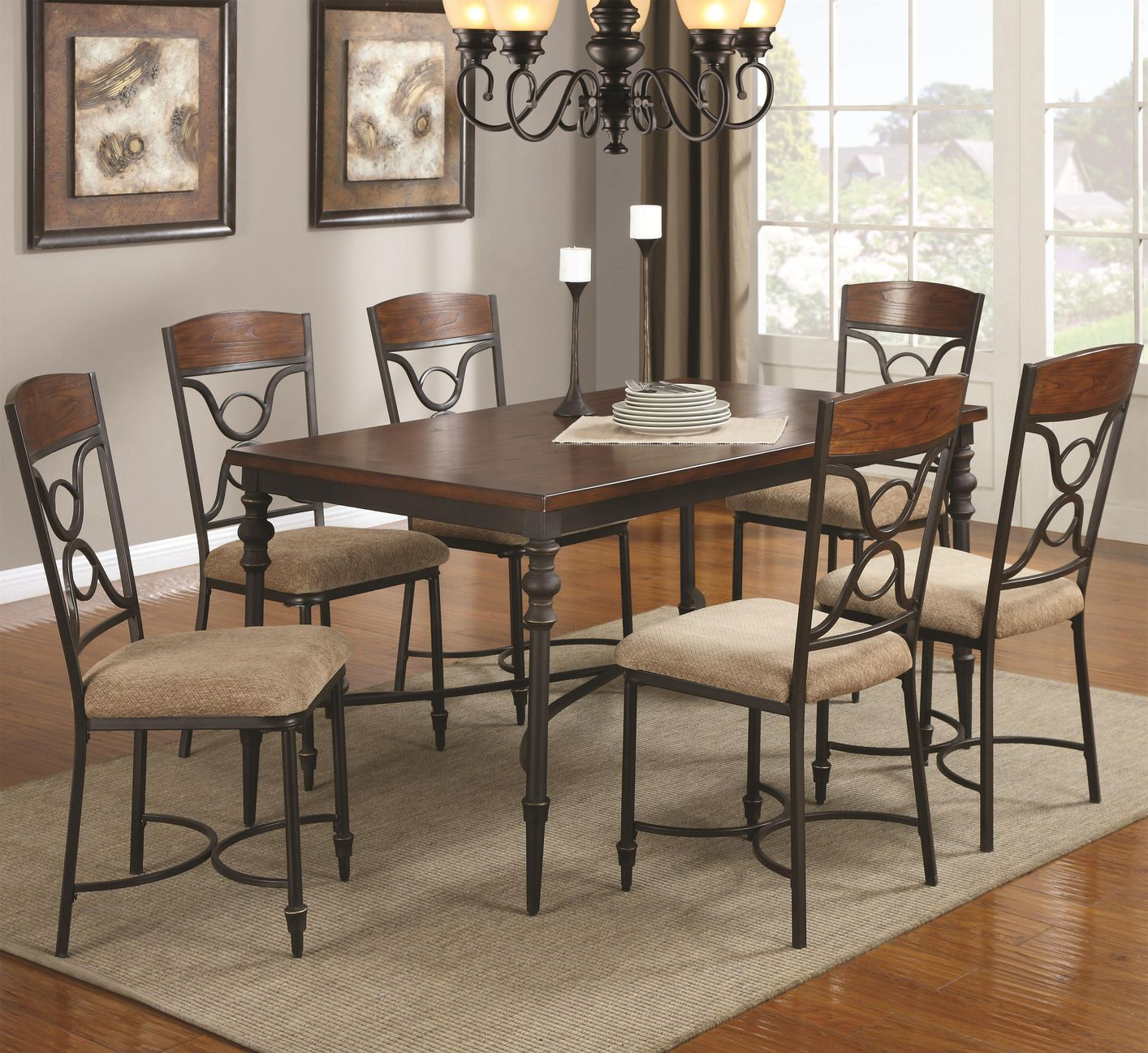 coaster klaus wood kitchen table sets Klaus Cherry Metal And Wood Dining Table Set