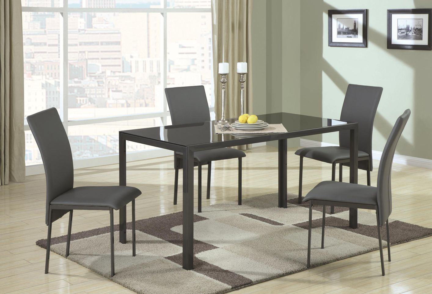 coaster shelby kitchen table chairs Shelby Black Metal And Glass Dining Table Set