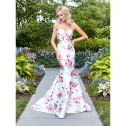 Intriguing Strapless Print Mermaid Prom Dress 2018 Prom Dress Clarisse Mermaid Prom Dresses Flowers Mermaid Prom Dresses Near Me