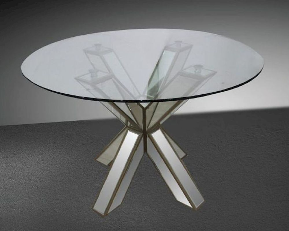 Witching Lazy Susan Transitional Mirrored Round Glass Table 44dgd1216 23 Round Glass Table Wood Base Round Glass Table houzz-02 Round Glass Dining Table