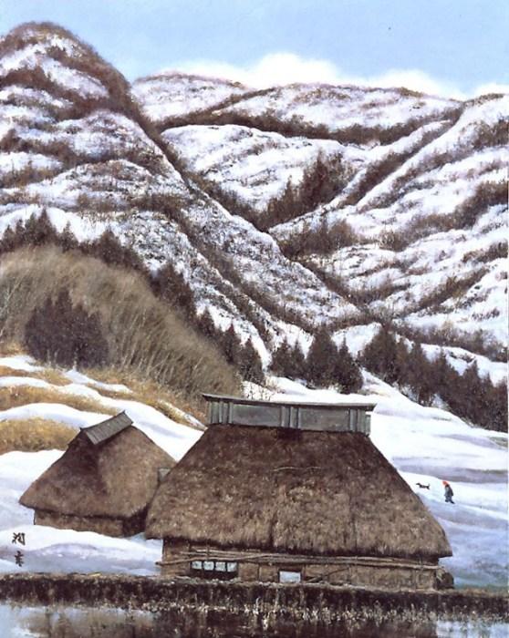 向井潤吉《宿雪の峡》[長野県下水内郡栄村秋山郷]1983年
