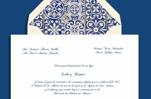 Invitación azulejos PANTONE Monaco Blue