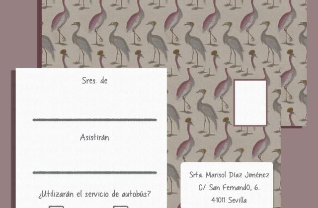 Postal de confirmación de asistencia estampados flamencos