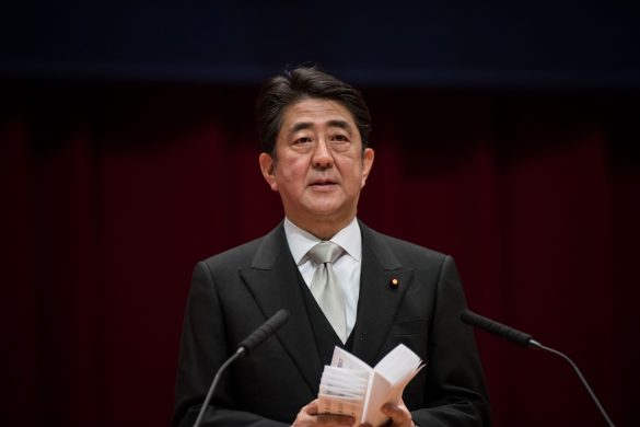 YOKOSUKA, JAPAN - MARCH 21: Japanese Prime Minister Shinzo Abe gives a speech during the graduation ceremony at the National Defense Academy in Yokosuka, south of Tokyo, Japan, 21 March 2016. In this year, 439 students graduated the academy. Nicolas Datiche/Anadolu Agency ( Nicolas Datiche - Anadolu Agency )