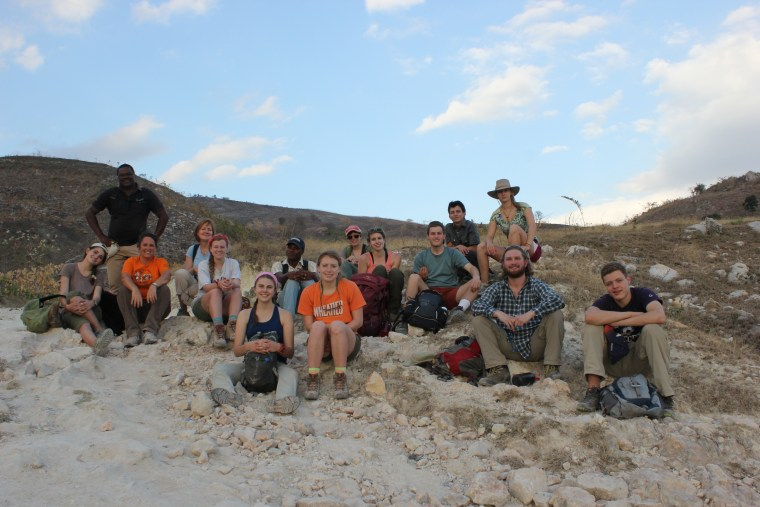 Our group on our victorious hike DOWN from Bois Jolie after our first day there.