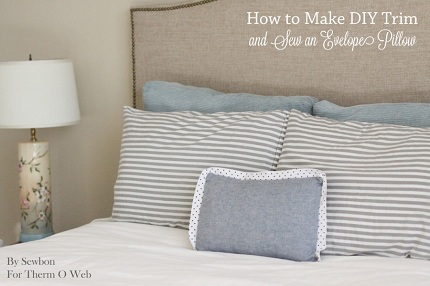Tutorial: Envelope pillow with DIY contrast fabric trim