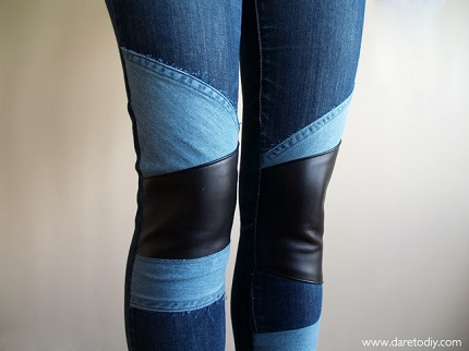 Tutorial: Add leather and denim patchwork knees to your jeans
