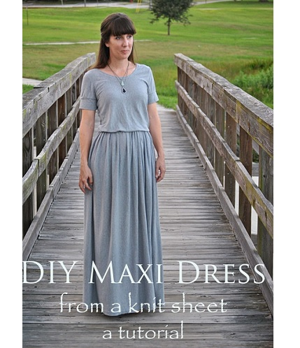Tutorial: Maxi dress from jersey knit sheet