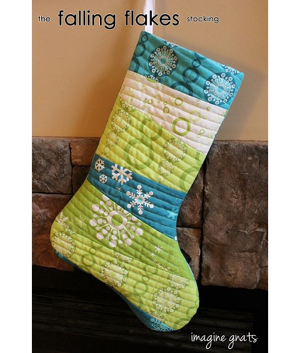 Free pattern: Falling Flakes quilt-as-you-go Christmas stocking