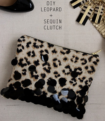 Tutorial: Leopard print and sequin pouch for an evening out