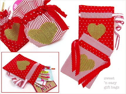 Tutorial: Drawstring gift bags with heart appliques