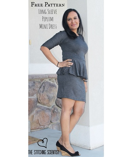 Free pattern: Pencil skirt peplum dress