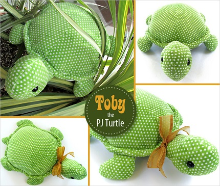 Tutorial: Toby the Stuffed Turtle with a secret pajama pocket