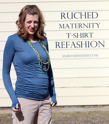 Tutorial: Ruched maternity shirt with long sleeves and thumb holes