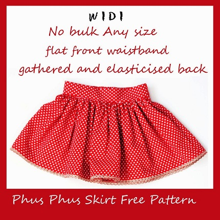 Tutorial: Phus Phus Skirt with a flat front waistband and elastic back