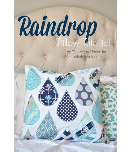 Tutorial: Raindrop applique throw pillow