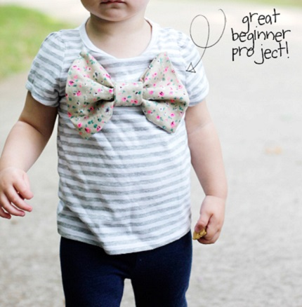 Tutorial: Little girl's big bow t-shirt