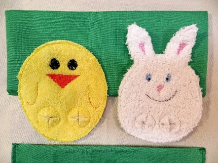 Tutorial: Quiet book page with chick and bunny finger puppets