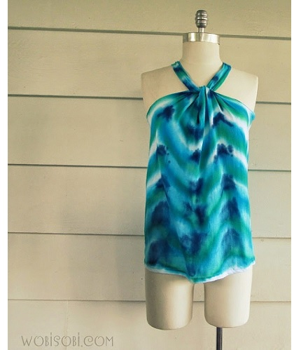 Tutorial: No-sew chevron tie-dyed halter top