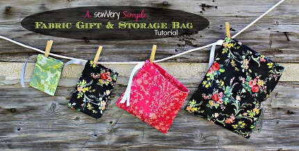 Tutorial: Simple fabric drawstring gift and storage bags