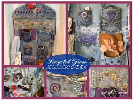 Tutorial: Recycled jeans accessory caddy
