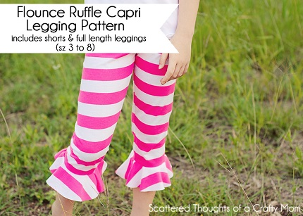 Free pattern: Flounced Ruffle Capri Leggings