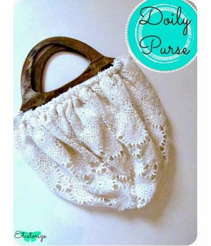 Tutorial: Wood handle doily purse