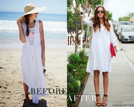 Tutorial: Sleeveless maxi dress refashioned to shorter dress with sleeves