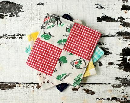 Tutorial: Vintage scrappy patchwork coasters