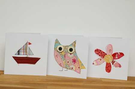 Tutorial: Scrap fabric appliqued greeting cards