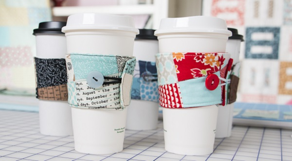 Video tutorial: Patchwork coffee koozie