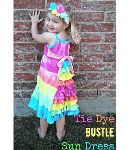 Tutorial: Rainbow tie-dye bustle sundress