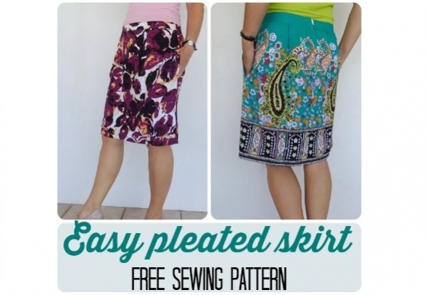 free pattern easy pleated skirt sewing