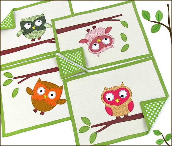 Free pattern: Playful Appliqued Owls Placemat Set