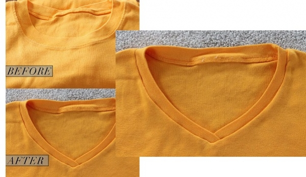 how to cut a v neck into a t shirt