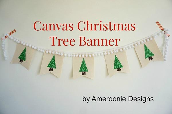 Tutorial: Canvas and pom pom Christmas tree banner