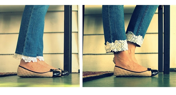 Tutorial: Lace cuff jeans 2 ways