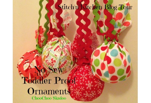 Tutorial: No-sew toddler proof fabric covered ornaments