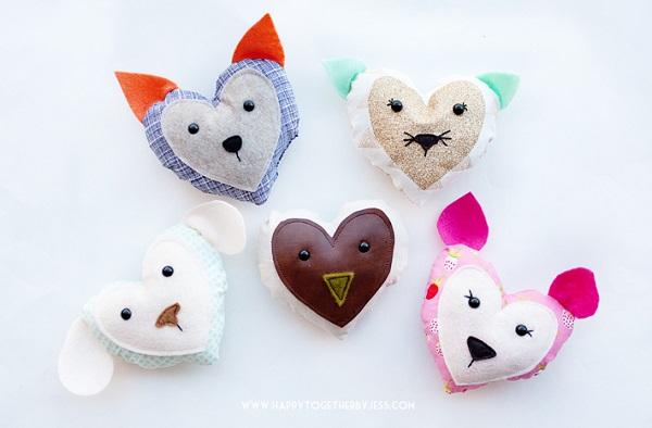 Free pattern: Valentine's heart animals