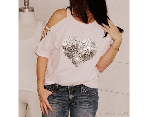 Tutorial: No-sew sequin heart sweatshirt with cut out sleeves