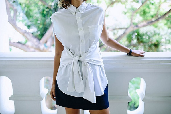 Tutorial: Make this tie-front blouse from a man's button-up shirt